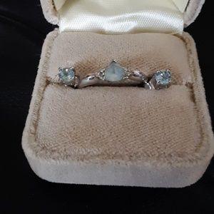 Real Aquamarine Ring + Earring Set